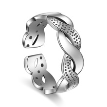 100% 925 sterling silver fashion Weaving water waves female thai silver retro style finger rings jewelry ladies`open ring gift