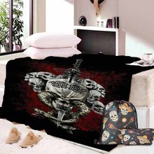 Custom DIY Printing Skull Couples Sherpa Throw Blanket Gothic Bedspread Pink Flowers Red Hearts Velvet Plush Beds Blanket(China)