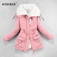 Medium-long проложенные parkas outwear wadded зимы толстые капюшоном теплый хлопка куртка