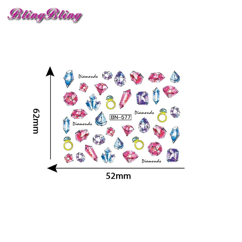 Blingblin2pcs Diamant Nagel Wasser Abziehbilder Juwelen Nail art ...