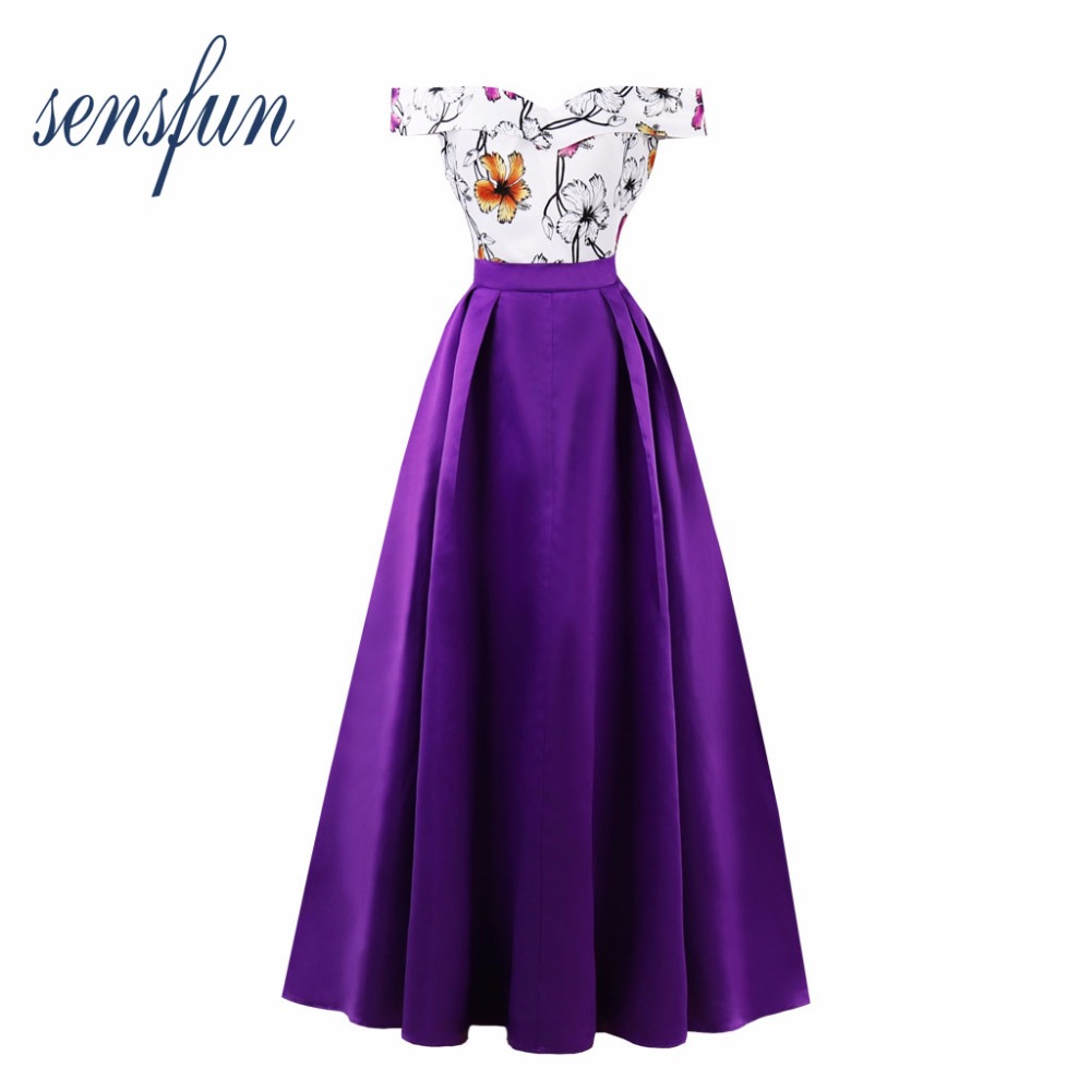 Sensfun Off-the-Shoulder Floral Dress Women Cotton Hepburn Robe 1950 60s Vintage Dress Long Dresses Vestidos Retra Party Dresses