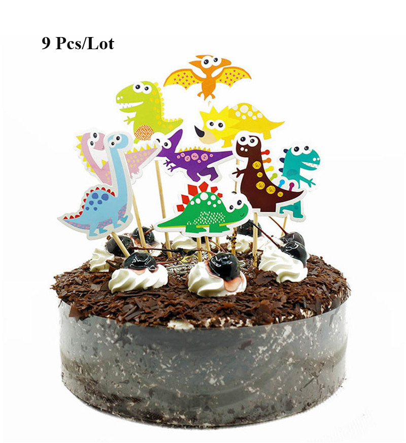 dinosaur birthday decoration cupcake toppers cake decorating cake flags baby boy children kids party dinosaur cake topper in Cake Decorating Supplies from Home Garden