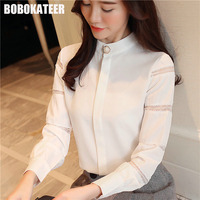 BOBOKATEER Ladies White Lace Top Office Shirt Womens Tops And Blouses Long Sleeve Chiffon Blouse Women