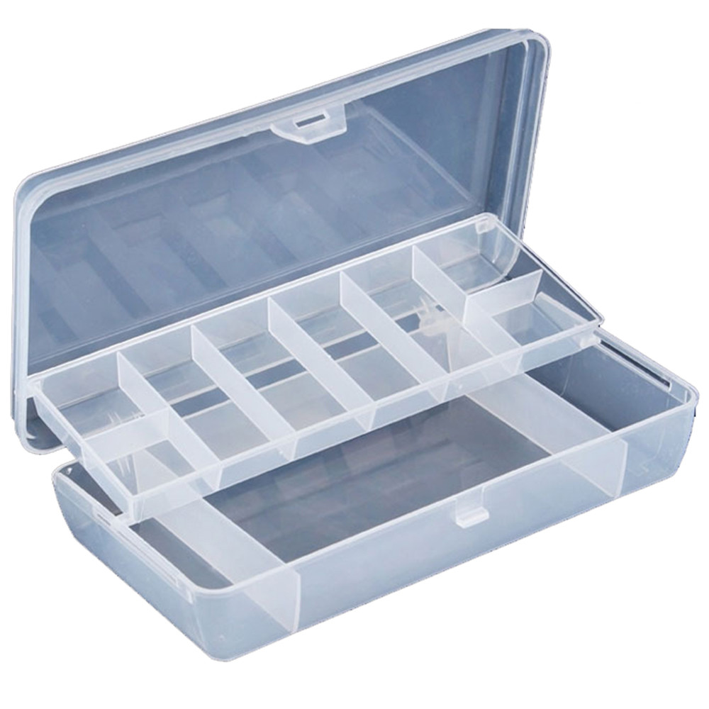 High quality Plastic 2 Tray Compartments Portable Fishing Lure Tackle Box Two-Sided Storage Case waterproof durable 21*11*4CM