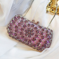 ladies bag 2017 rhinestone evening bag diamond purple flower clutch bag diamond crystal handbags