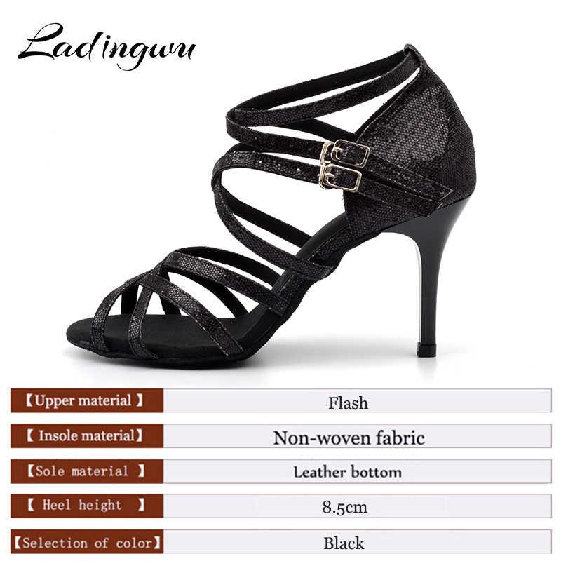 Ladingwu 2018 Yeni kadın Latin Dans Ayakkabıları Siyah Glitter Ayakkabı kadın Sandalet Dans Ayakkabıları Latin Kadın Salsa topuklu 8.5 cm