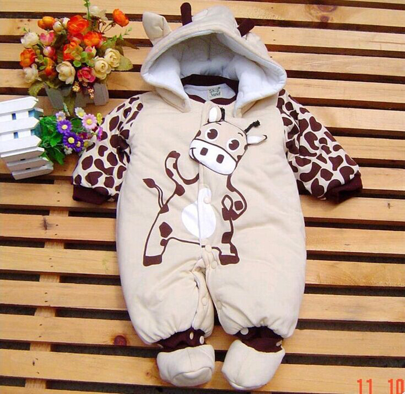 Newborn Outerwear Boy and Girl Winter Warm Hooded Baby Overalls Cotton Autumn Rompers 3 6 9 Months Infant Clothes newborn overalls 2018 spring winter warm