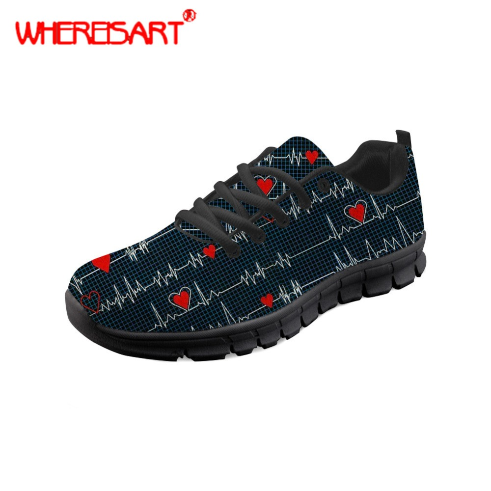 WHEREISART Shoes Women Nurse Heart Printing Flat Shoes Ladies Lightweight Sneakers for Teenagers Casual Mesh Flats Nursing Shoes