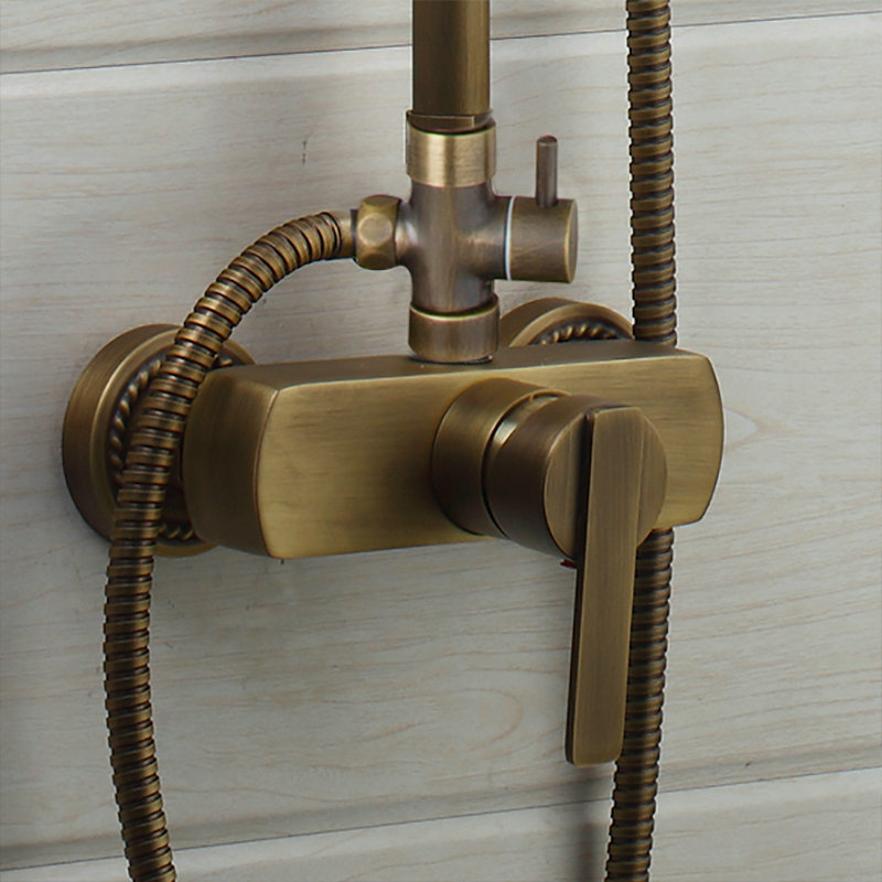 YANKSMART Flexible Retro Vintage Brass Wall Mount 8 Inches Shower Head + Control  Valve Hand Sprayer Bathroom Set In Shower Faucets From Home Improvement On  ...