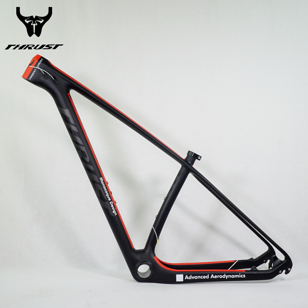 THRUST Bicycle Carbon mtb Frame 29er 27.5er Red BSA BB30 Chinese Mountain Bike Frame 15 17 19 with Headset Clamp 8 Colors track frame fixed gear frame bsa carbon 1 1 2to 1 1 8 bike frameset with fork seatpost road carbon frames fixed gear frameset