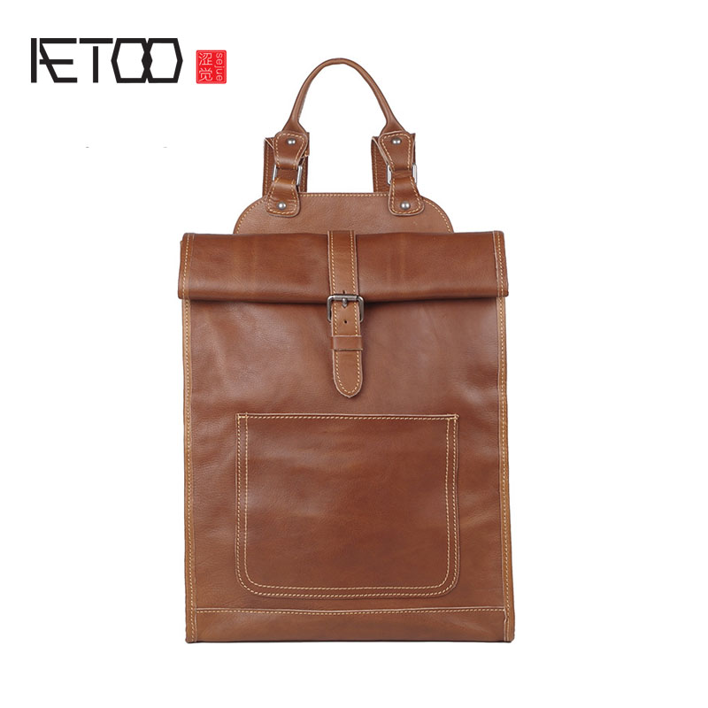 AETOO Imported first layer of leather men shoulder bag handmade tannery ladies version of the computer backpack management of industrial tannery solid waste for biogas production