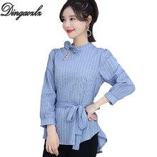 306219847 Dingaozlz primavera nuevo coreano ropa de mujer de moda delgada lazo mujer  Top rayas elegante camisa Casual estilo largo blusa d.