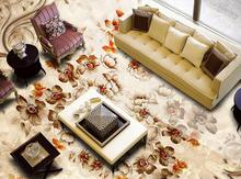 custom 3d flooring European style marble pattern retro small Floral 3d floor kitchen pvc wall paper 3d floor painting