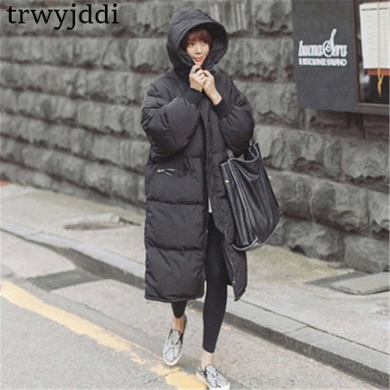 2018 Casual Black Plus Size Korean Fashion Female Outwear Thick Warm   Parka   Oversize Winter Coat Women Retro With Hood A1593