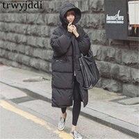 2019 повседневные Черные Большие размеры корейский стиль модная женская верхняя одежда толстая теплая парка более размер зимнее пальто женс...