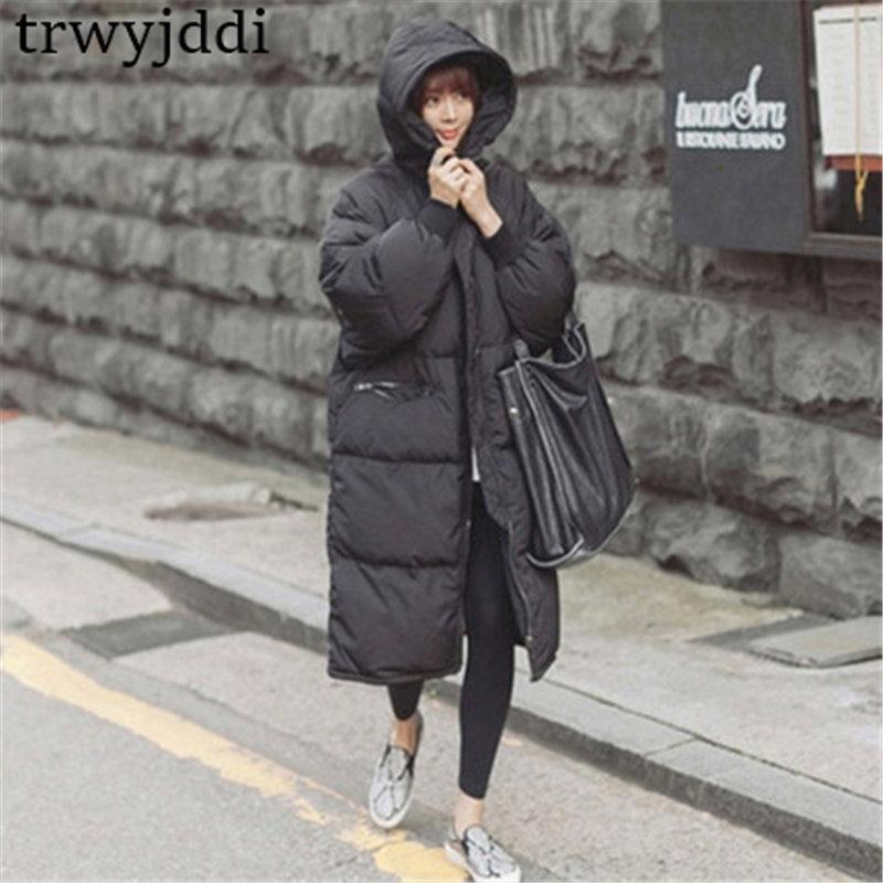 2019 Casual Black Plus Size Korean Fashion Female Outwear Thick Warm   Parka   Oversize Winter Coat Women Retro With Hood A1593