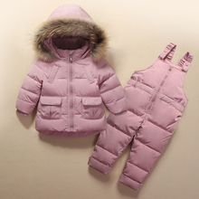 цена на Kids Clothes Girls Boys Down Coat Children Warm Snowsuit Outerwear + Romper Clothing Set Russian children's Winter jackets