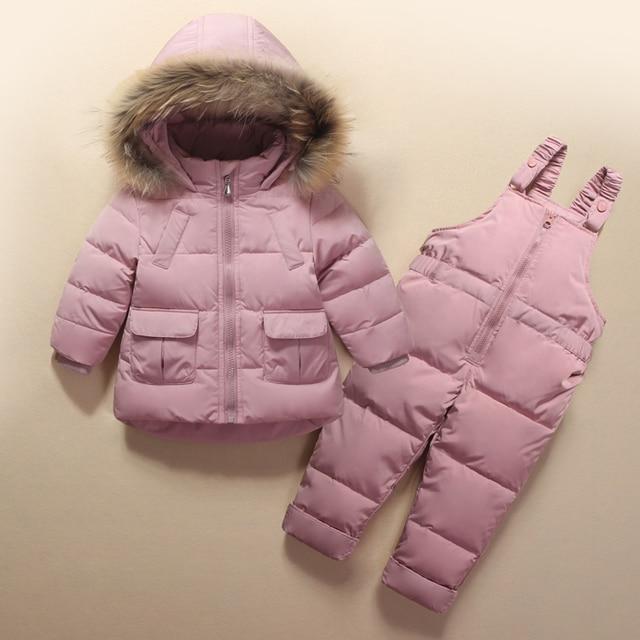 Ropa para niños niñas niños abajo abrigo niños cálido traje de nieve  prendas de vestir exteriores 33a07f383ddc