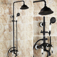 Antique Oil Rubbed Bronze Bathroom Soild Brass Shower Set Faucet Wall Mount Round Shower Head