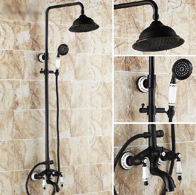 Antique Oil-rubbed Bronze Bathroom Soild Brass Shower Set Faucet Wall Mount Round Shower Head