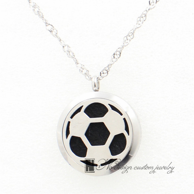 Hollow football soccer charms locket diffuser pendant essential hollow football soccer charms locket diffuser pendant essential oils locket stainless steel valentines day free chains mozeypictures Image collections