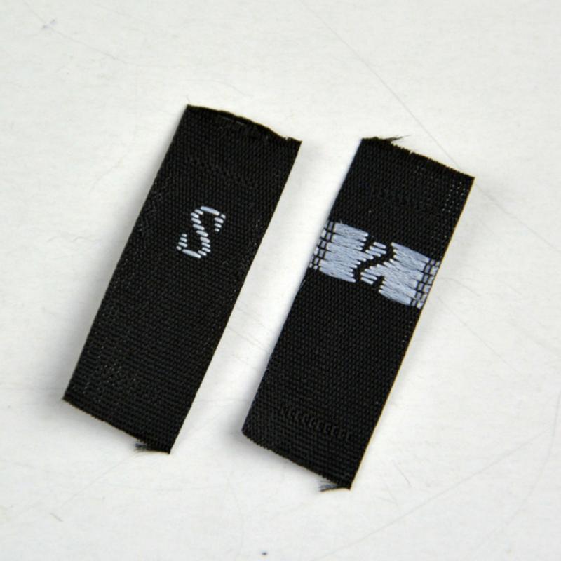 1,3X3 см размер этикетки одежда тканые этикетки S-4XL белый черный 1 рулон(около 500 шт