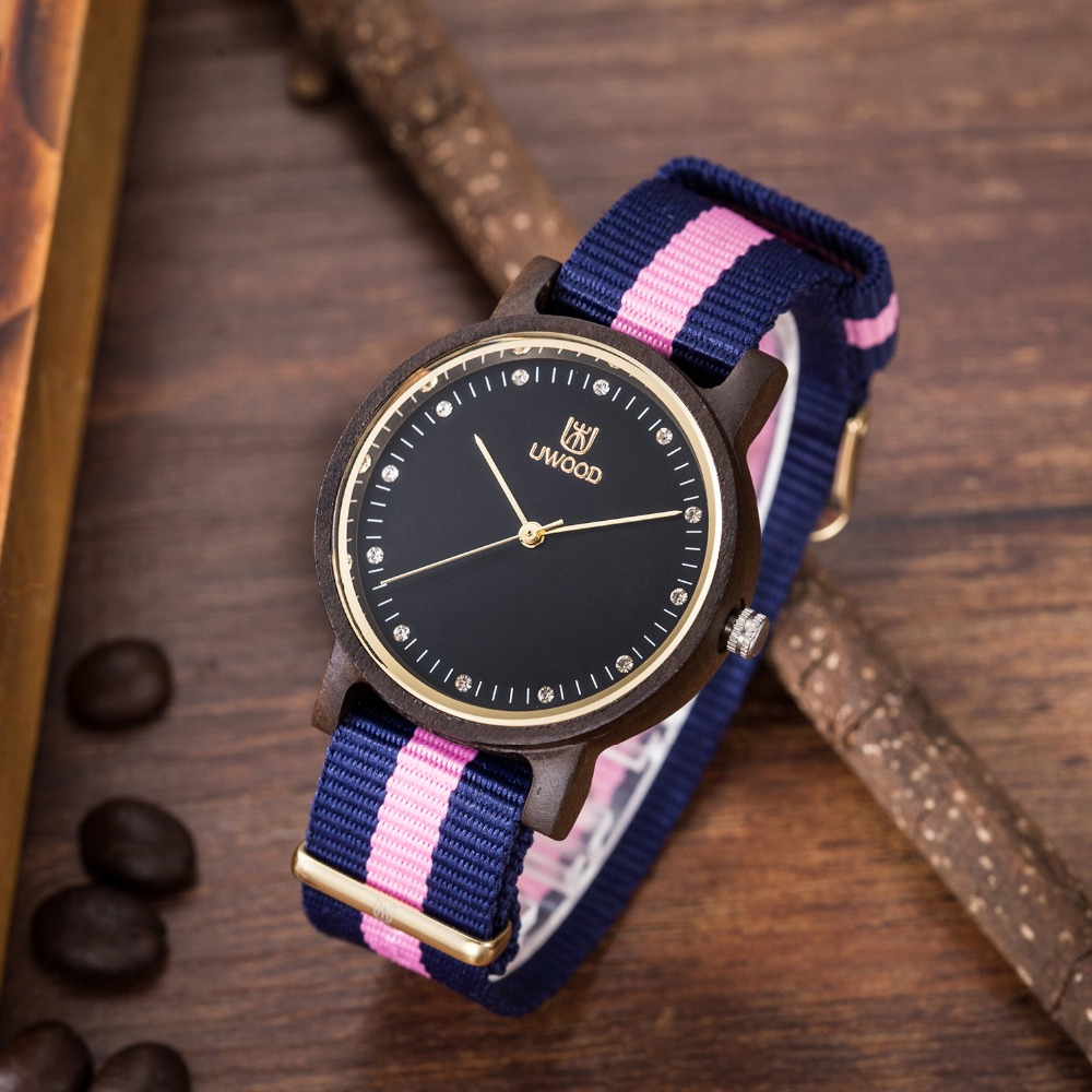 Hot Selling Women`s Wooden Wristwatch Womens New Fashion Nylon Strap Bamboo wood Watches diamond For Women bracelet Unique gifts