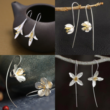 925 sterling silver Long Flower Earrings For Women Elegant Lady Prevent Allergy New Design Fashion Jewelry