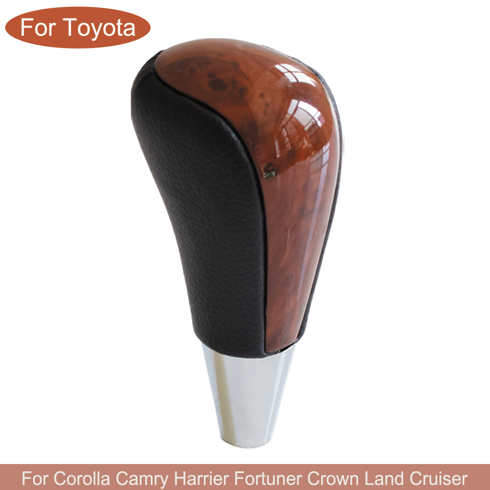 Gear Automatic Shift Lever Stick Knob For TOYOTA Corolla Camry HARRIER FORTUNER CROWN Land Cruiser Walnut Leather Car Styling