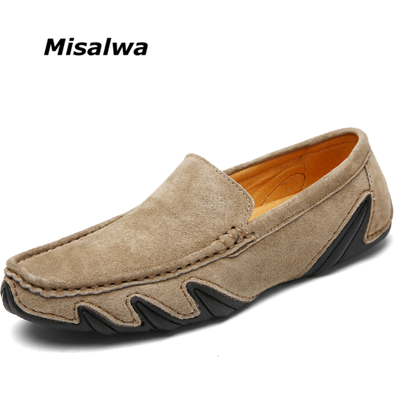 Misalwa Men Loafers Men Casual   Suede     Leather   Shoes Spring Summer Hollow out Moccasins Man Khaki Gray Men Flats