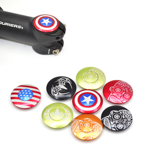 """Bicycle Stem Top Cap Headset Cover with Bolt Apply to 28.6mm 1 1/8"""" Front fork head tube Captain America Spider Logo USA Flag(China)"""