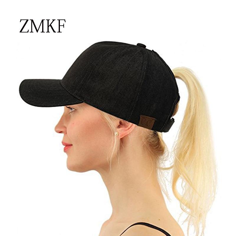 2018 ZMKF nieuwe vrouwen effen kleur paardenstaart baseball cap zomer - Kledingaccessoires - Foto 3