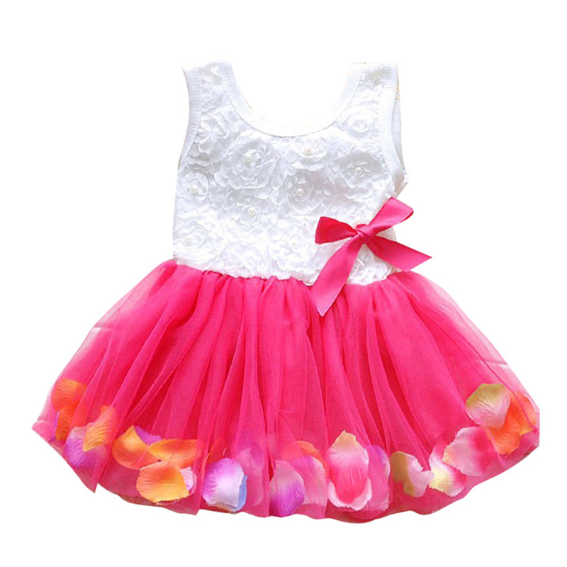Baby Kid   Girls   Summer Lace   Dresses   Cute Princess Sleeveless Party Tutu Bow   Flower     Dresses   Clothes