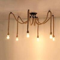 Loft hemp rope chandelier bar dining room living room restaurant cafe light bedroom light E27 Edison pendant lamp droplight