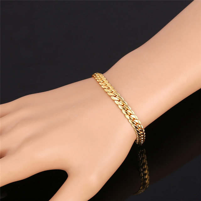 Online Shop GoldRose Gold Color Chain For Men Necklace Bracelet Set