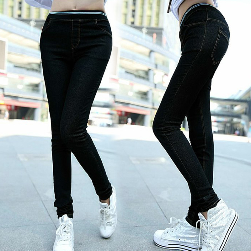 women jeans denim high waist elastic waist black stretch plus size slim skinny jeans 2016 with Trousers for women high waisted women jeans large size high waist autumn 2017 blue elastic long skinny slim jeans trousers large size denim pants stretch female