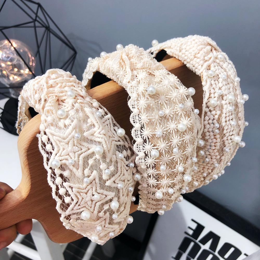 Hot Sale Fashion Beads Pearl Hairbands Headbands For Women Girls Hair Bands Fabric Lace Headwear Wide Hair Band Accessories