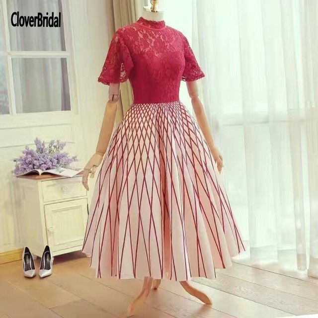 CloverBridal red lace bodice stripe skirt beautiful dresses for ...