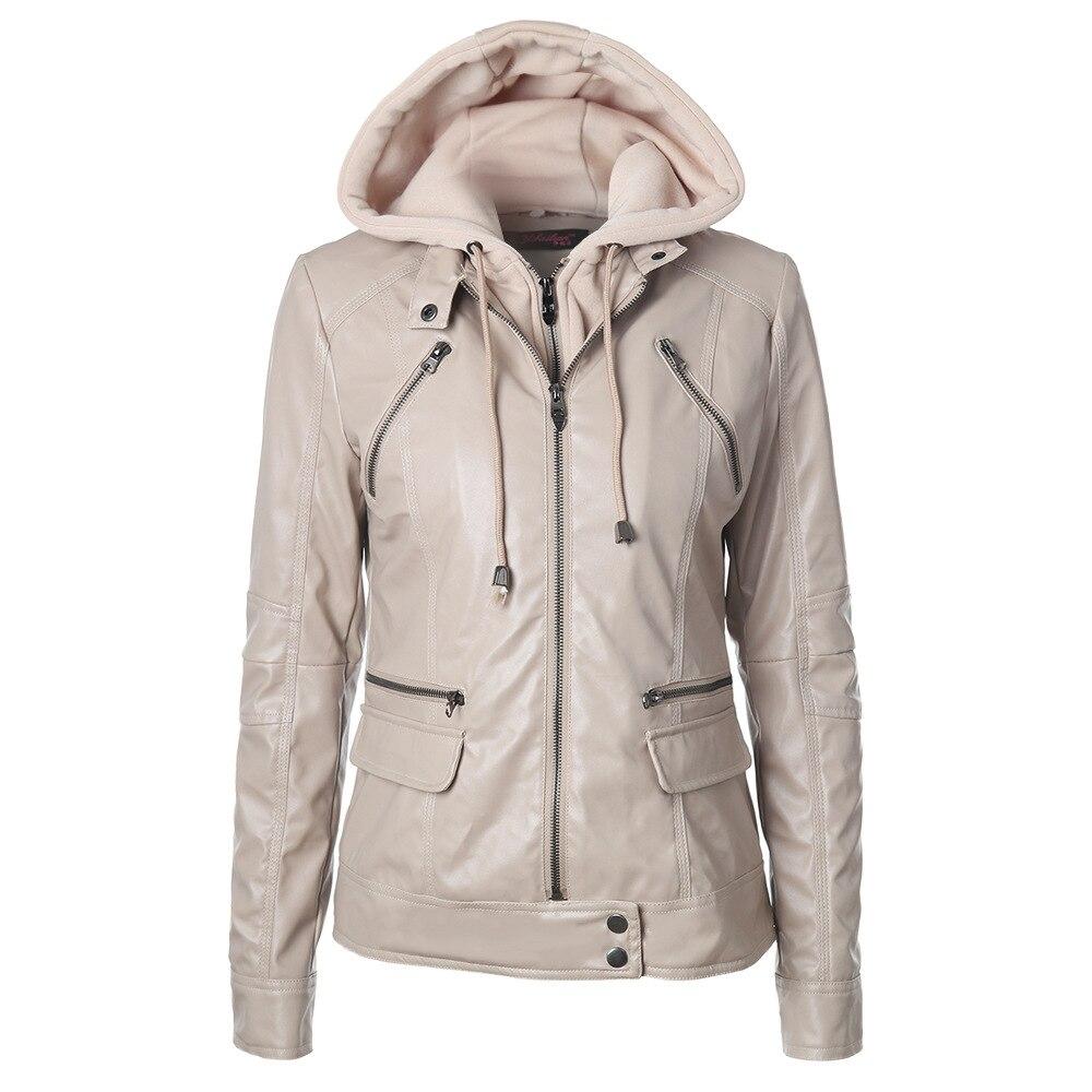 0100520349a28 Fashion Women PU Leather Jacket Detachable Hooded Long Sleeve Zipper Pocket Slim  Women Leather Coat Jacket PY91-in Leather   Suede from Women s Clothing on  ...