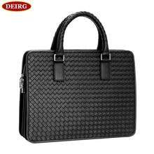 Top Grade Natural Cowhide Men Briefcase Handmade Weave Leather Business Handbag Fit For 14 Inch Laptop Bag PR581056