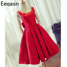 Red Satin Ruched Bridesmaid Dresses Short A Line Sexy Backless Knee Length Prom  Gowns Scoop Neck 2018 Wedding Guest Dress 52356544cab3