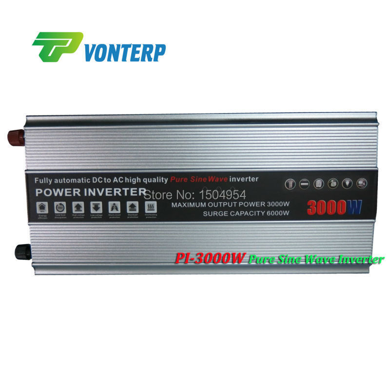 3000W Pure sine wave inverter 3000W 12VDC to  ac 220V output  Peak power 6000W single phase pure sine wave inverter