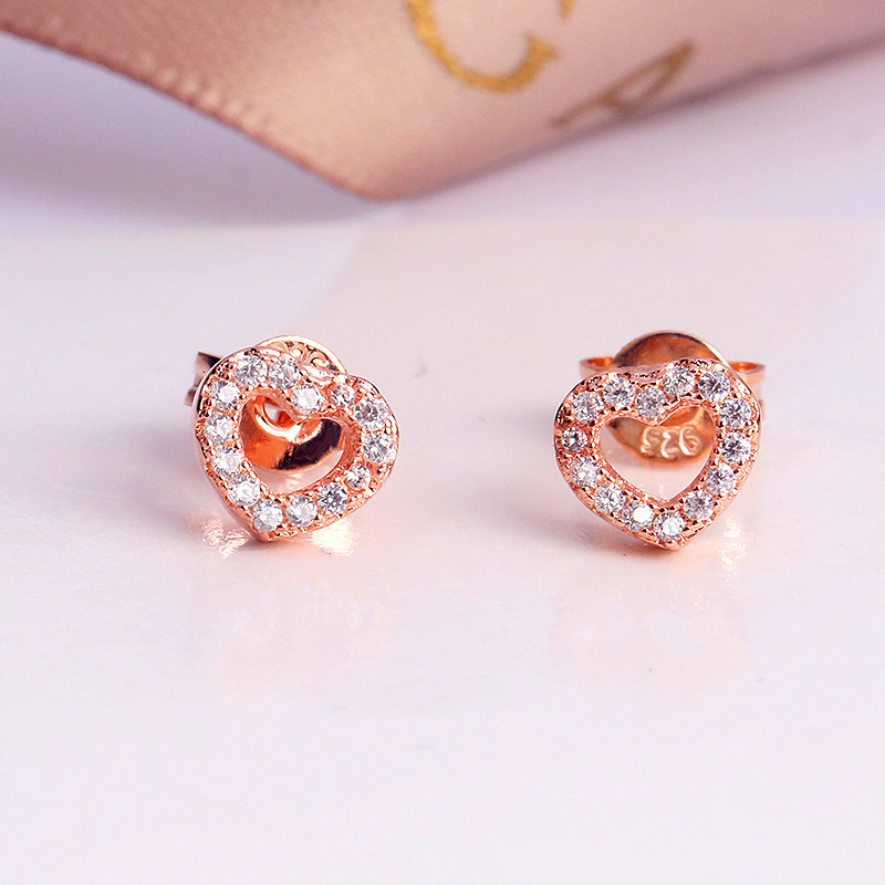 Heart Zircon Stud Earrings For Women Clear CZ Crystal Brand Earrings Fine Jewelry Femme Brincos in Stud Earrings from Jewelry Accessories