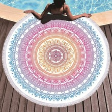 Round Beach Towel Mandala Flower Printed Large Microfiber Bath For Adults Roundie Summer Sport Travel Yoga Mat