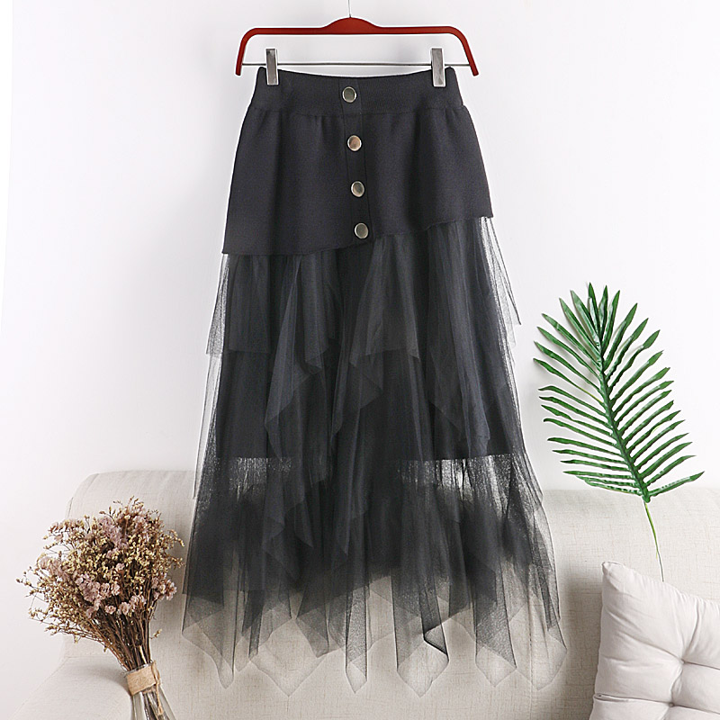 Skirts Womens 2019 New Summer Vintage Rivet Irregular Women Pleated Skirts Harajuku Patchwork Female Maxi Skirt Jupe Femme in Skirts from Women 39 s Clothing