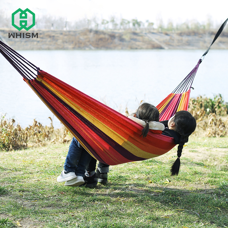 WHISM Camping Swing Hammock Hanging Sleeping Bed Portable Travel Canvas Double Chair Hamac 2 Person Outdoor Parachute Hammock