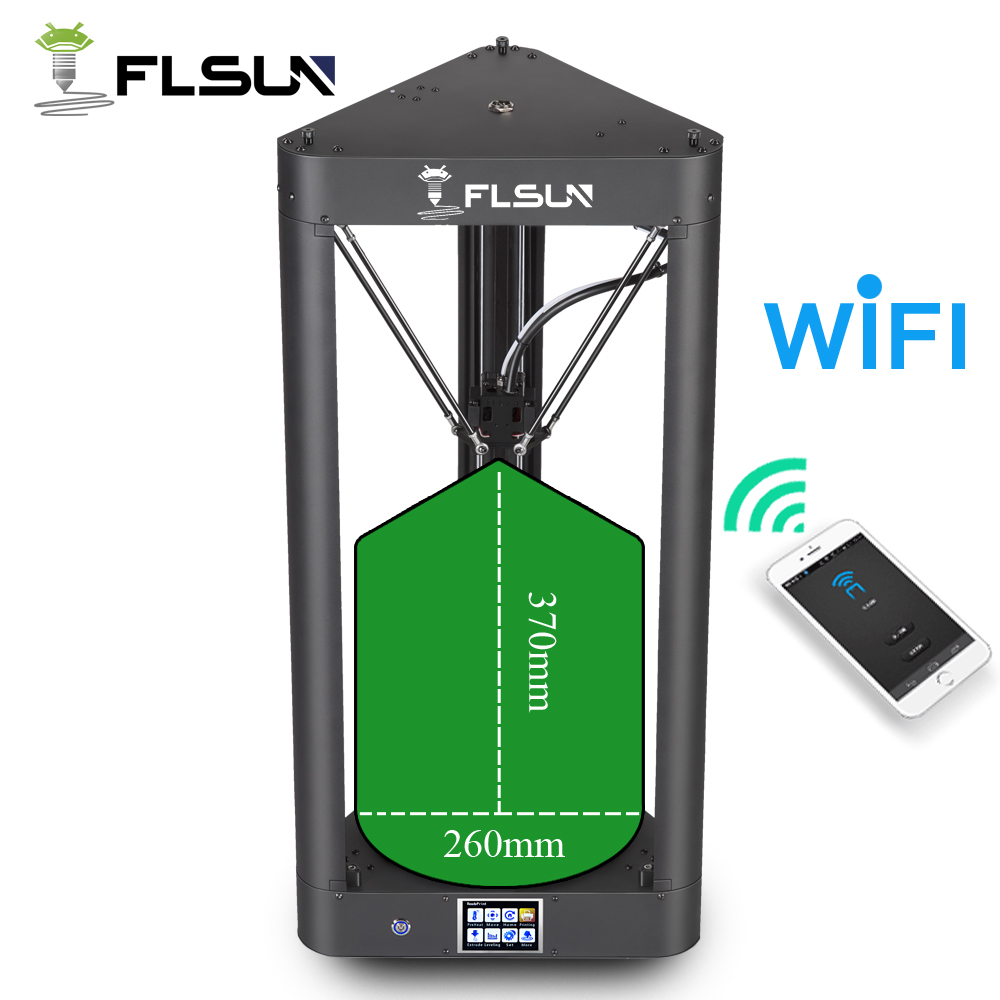 FLSUN Pre-assembled Delta 3d Printer with Printing Size 260X370 Auto Leveling Touch Screen WIFI Remote Control Hot Bed Filament large buid size newest kossel k280 delta 3d printer 24v 400w power with auto level and heat bed two rolls of filament gift