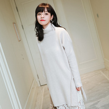Women Sweaters Winter 100% Pure Cashmere real Knitting Dresses New Arrival Turtleneck Long Dress Thicker Ladies Dress Clothes