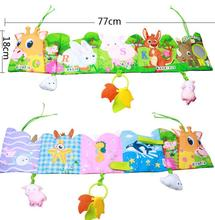 Baby giraffe Book Toy Cartoon Infant Toddlers Animals Children Stroller Bed Hanging Rattle Toy Ruffle Soft Cloth Books(China)