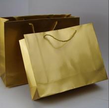 100PCS/LOT Gold Paper Gift Bag Shopping For Party Wedding Print LOGO